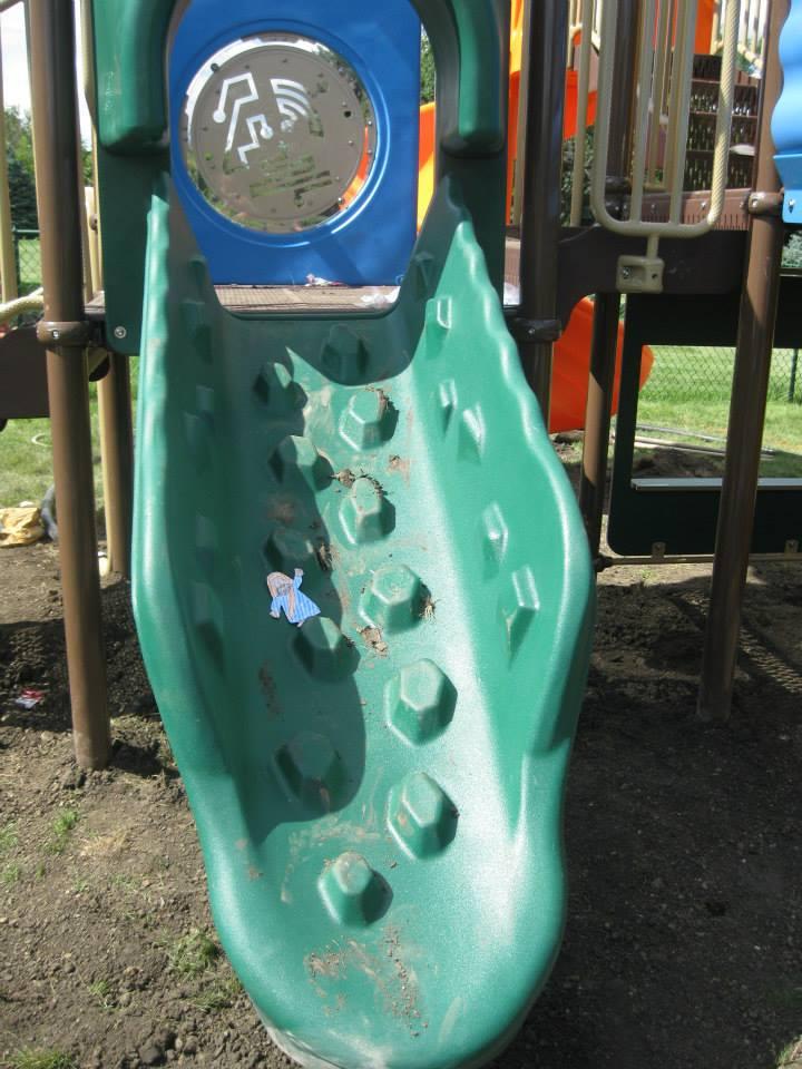 That's one bumpy slide!